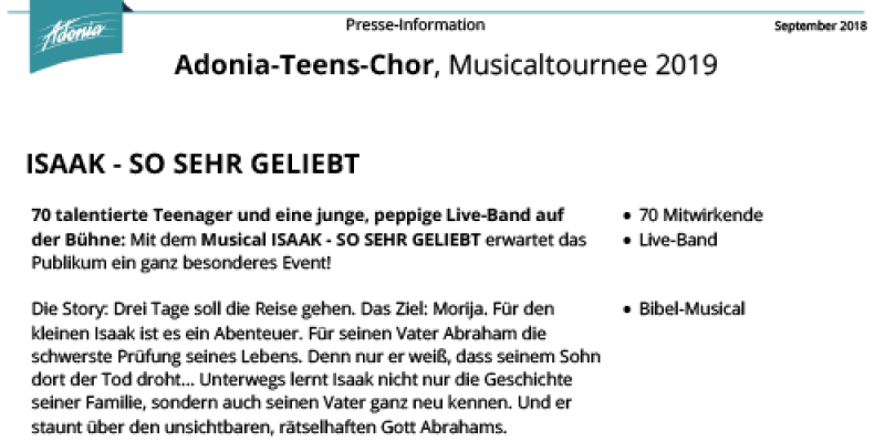 Presseinfos Teens Isaak